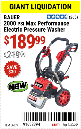 Harbor Freight 2000 PSI ELECTRIC PRESSURE WASHER coupon