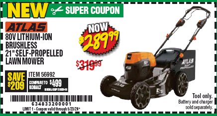 "www.hfqpdb.com - ATLAS 80V LITHIUM-ION BRUSHLESS 21"" SELF-PROPELLED LAWN MOWER Lot No. 56992"