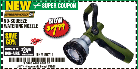 Harbor Freight GREENWOOD NO-SQUEEZE WATERING NOZZLE coupon
