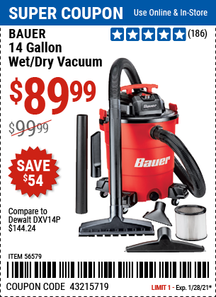 www.hfqpdb.com - BAUER 14 GALLON, 6 PEAK HP WET/DRY VACUUM  Lot No. 56579