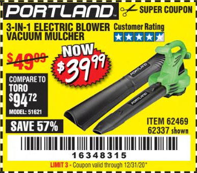 Harbor Freight 3-IN-1 ELECTRIC BLOWER VACUUM coupon