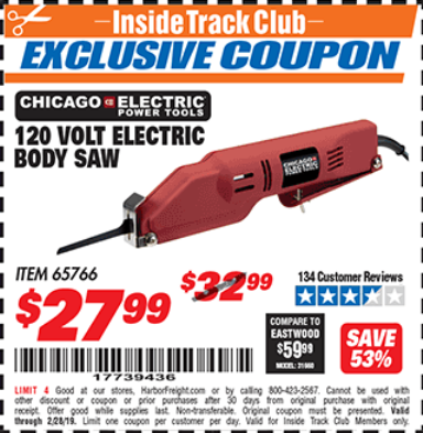 Harbor Freight 120 VOLT ELECTRIC BODY SAW coupon
