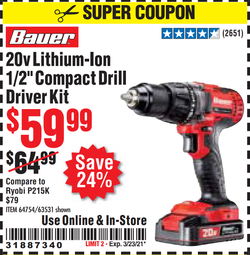 Harbor Freight 20V HYPERMAX LITHIUM-ION CORDLESS 1/2 IN. HAMMER DRILL KIT coupon
