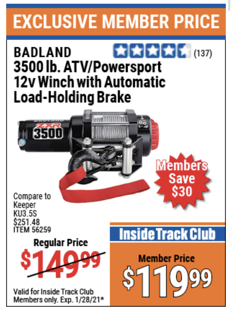 www.hfqpdb.com - 3500 LB. ATV/POWERSPORT 12V WINCH WITH AUTOMATIC LOAD-HOLDING BRAKE Lot No. 56528/56259
