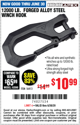 Harbor Freight 12000 LB. FORGED ALLOY STEEL WINCH HOOK coupon