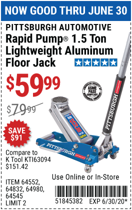 Harbor Freight PITTSBURGH AUTOMOTIVE RAPID PUMP® 1.5 TON LIGHTWEIGHT ALUMINUM FLOOR JACK coupon