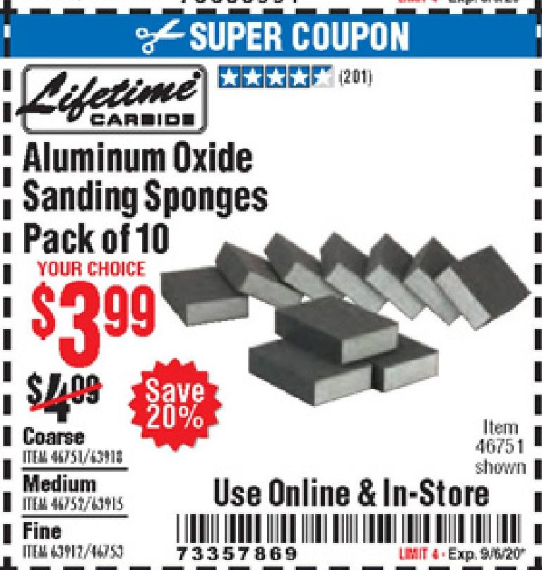 Harbor Freight LIFETIME ALUMINUM OXIDE SANDING SPONGES PACK OF 10 coupon