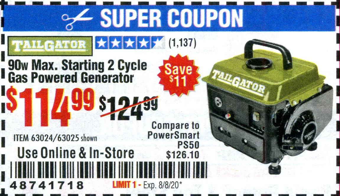 Harbor Freight 900 WATT MAX. STARTING 2 CYCLE GAS POWERED GENERATOR coupon