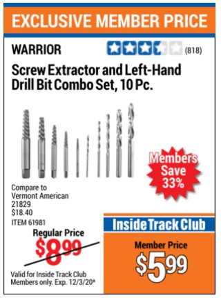 Harbor Freight 10 PIECE SCREW EXTRACTOR AND LEFT-HAND DRILL BIT COMBO SET coupon
