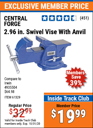 "www.hfqpdb.com - 3"" SWIVEL VISE WITH ANVIL Lot No. 7421/61329"