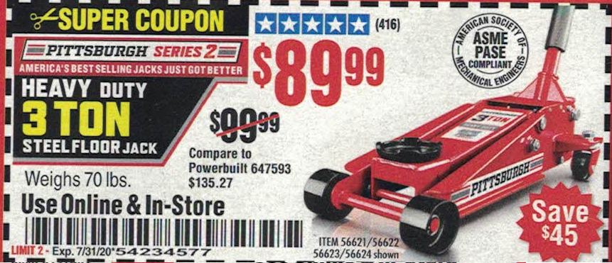 Harbor Freight PITTSBURGH SERIES 2 RAPID PUMP 3 TON STEEL HEAVY DUTY FLOOR JACK coupon