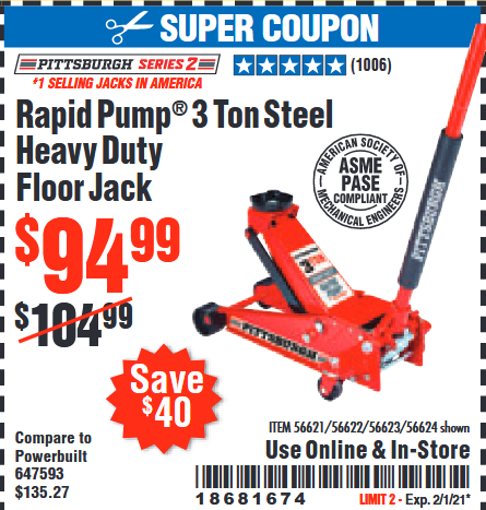 www.hfqpdb.com - PITTSBURGH SERIES 2 RAPID PUMP 3 TON STEEL HEAVY DUTY FLOOR JACK Lot No. 56621