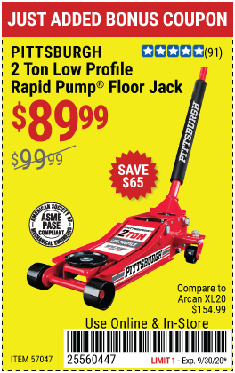 Harbor Freight PITTSBURGH SERIES 2 RAPID PUMP 2 TON STEEL LOW PROFILE FLOOR JACK coupon
