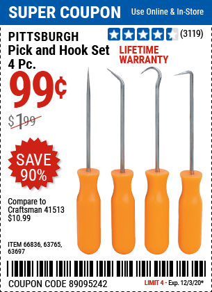 Harbor Freight PITTSBURGH 4 PIECE PICK AND HOOK SET coupon