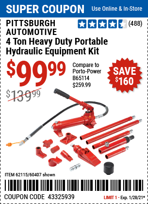 www.hfqpdb.com - PITTSBURGH AUTOMOTIVE 4 TON HEAVY DUTY PORTABLE HYDRAULIC EQUIPMENT KIT Lot No. 60407, 44899, 62115
