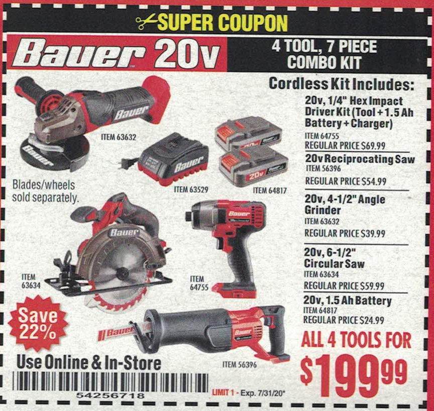 Harbor Freight 20V BAUER 4 TOOL, 7 PIECE COMBO KIT coupon