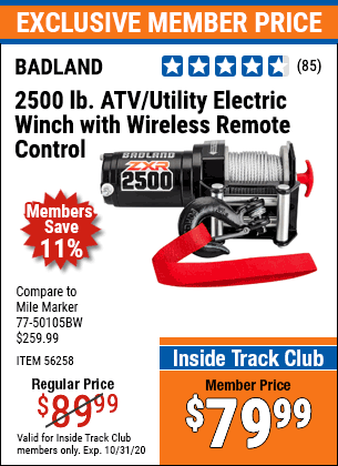Harbor Freight BADLAND ZXR 2500LB ATV/UTILITY WINCH WITH WIRELESS REMOTE coupon