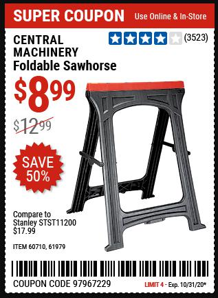 www.hfqpdb.com - CENTRAL MACHINERY FOLDABLE SAWHORSE Lot No. 60710 616979