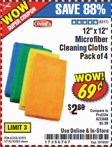"www.hfqpdb.com - GRANT'S 12"" X 12"" MICROFIBER CLEANING CLOTHS PACK OF 12 Lot No. 63357/63361/57161/63362"