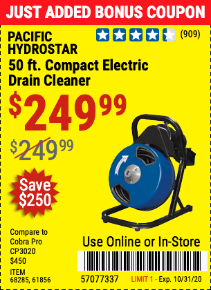 www.hfqpdb.com - $50 OFF ANY PACIFIC HYDROSTAR DRAIN CLEANER Lot No. 68285/61856/68284/61857