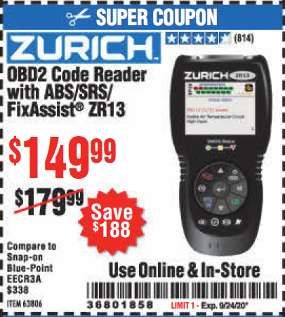 Harbor Freight ZURICH OBD2 CODE READER WITH ABS/SRS/FIXASSIST® ZR13 coupon