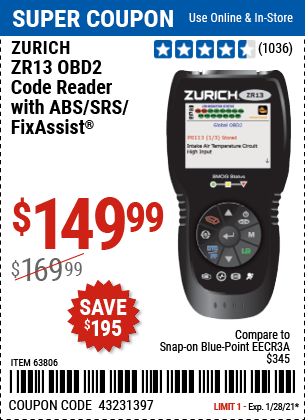 www.hfqpdb.com - ZURICH OBD2 CODE READER WITH ABS/SRS/FIXASSIST® ZR13 Lot No. 63806