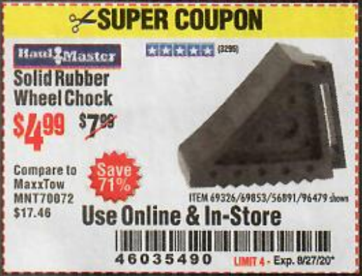 Harbor Freight HAUL-MASTER SOLID RUBBER WHEEL CHOCK coupon