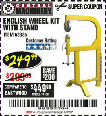 Harbor Freight ENGLISH WHEEL KIT WITH STAND coupon