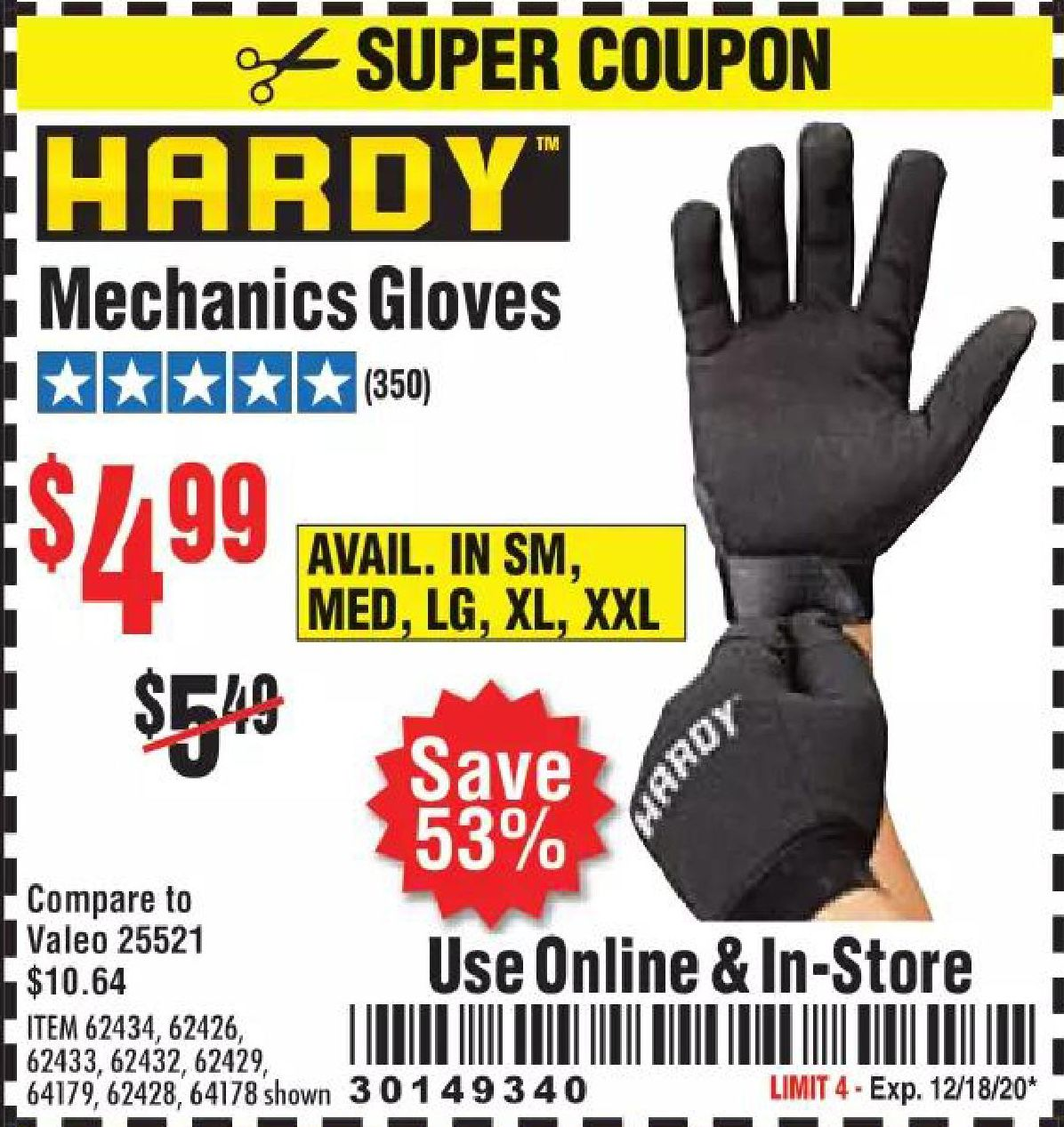 Harbor Freight HARDY MECHANICS GLOVES coupon