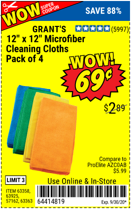 Harbor Freight GRANT'S MICROFIBER CLEANING CLOTH 12 IN X 12 IN, 4 PK coupon