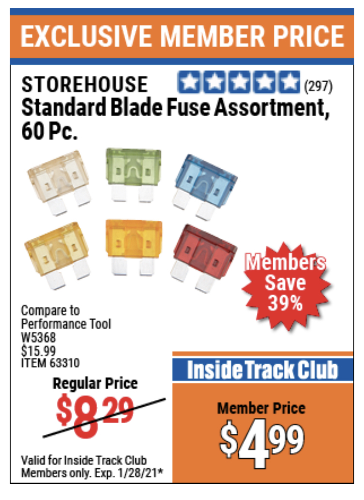 www.hfqpdb.com - STOREHOUSE STANDARD BLADE FUSE ASSORTMENT, 60 PC. Lot No. 63310