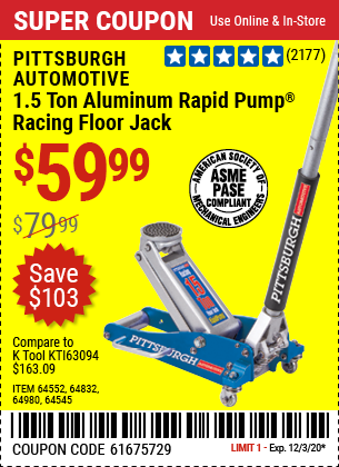 Harbor Freight RAPID PUMP 1.5 TON LIGHTWEIGHT ALUMINUM FLOOR JACK coupon