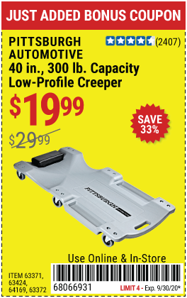Harbor Freight 40 IN., 300LB. CAPACITY LOW-PROFILE CREEPER coupon