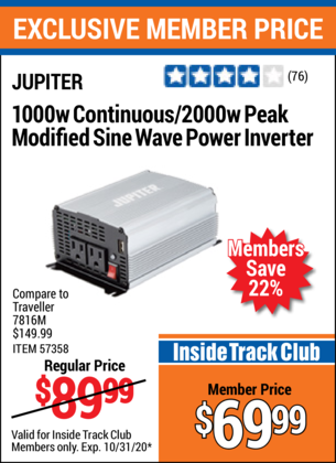 Harbor Freight JUPITER 1000W CONTINOUS/2000W PEAK MODIFIED SINE WAVE POWER INVERTER coupon