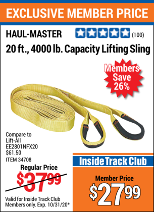 Harbor Freight HAUL-MASTER 20 FT., 4000 LB. CAPACITY LIFTING SLING coupon
