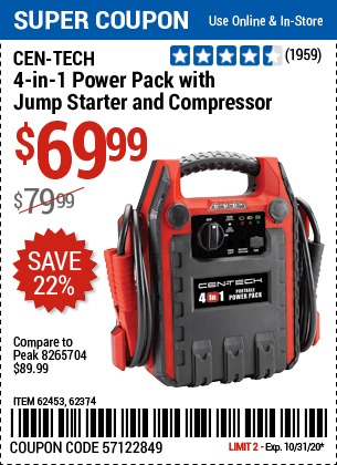 www.hfqpdb.com - CEN-TECH 4-IN-1 POWER PACK WITH JUMP STARTER AND COMPRESSOR Lot No. 62453,62374