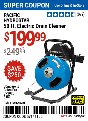 www.hfqpdb.com - PACIFIC HYDROSTAR 50FT. ELECTIC DRAIN CLEANER Lot No. 61856, 68285