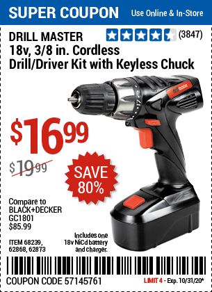Harbor Freight DRILL MASTER 18V, 3/8 IN. CORDLESS DRILL/ DRIVER KIT WITH KEYLESS CHUCK coupon