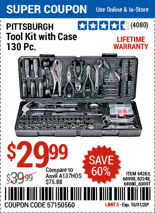 www.hfqpdb.com - PITTSBURGH TOOL KIT WITH CASE 130 PC. Lot No. 64263, 68998, 63248, 64080, 63091