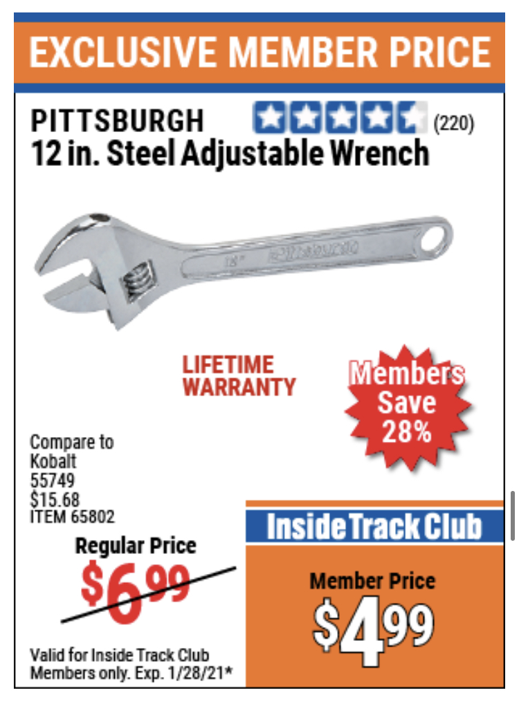 www.hfqpdb.com - 12 IN. STEEL ADJUSTABLE WRENCH - PITTSBURGH Lot No. 55749