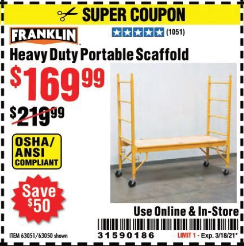 Harbor Freight FRANKLIN HEAVY DUTY PORTABLE SCAFFOLD coupon