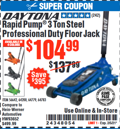 Harbor Freight DAYTONA 3 TON HEAVY DUTY PROFESSIONAL RAPID PUMP FLOOR JACK coupon