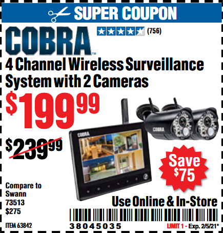 www.hfqpdb.com - COBRA 4 CHANNEL WIRELESS SURVEILLANCE SYSTEM WITH 2 CAMERAS Lot No. 63842