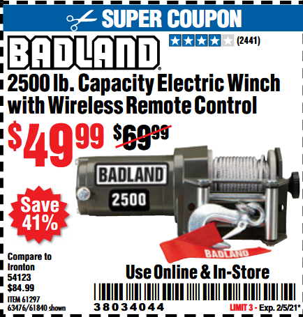 www.hfqpdb.com - 2500 LB. ATV/UTILITY ELECTRIC WINCH WITH WIRELESS REMOTE CONTROL Lot No. 61297, 63476, 61840