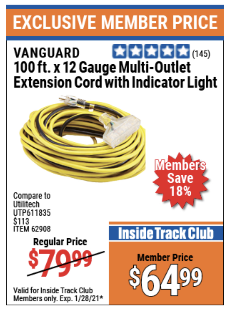 www.hfqpdb.com - VANGUARD 100 FT. X 12 GUAGE MULTI-OUTLET EXTENSION CORD WITH INDICATOR LIGHT Lot No. 62908