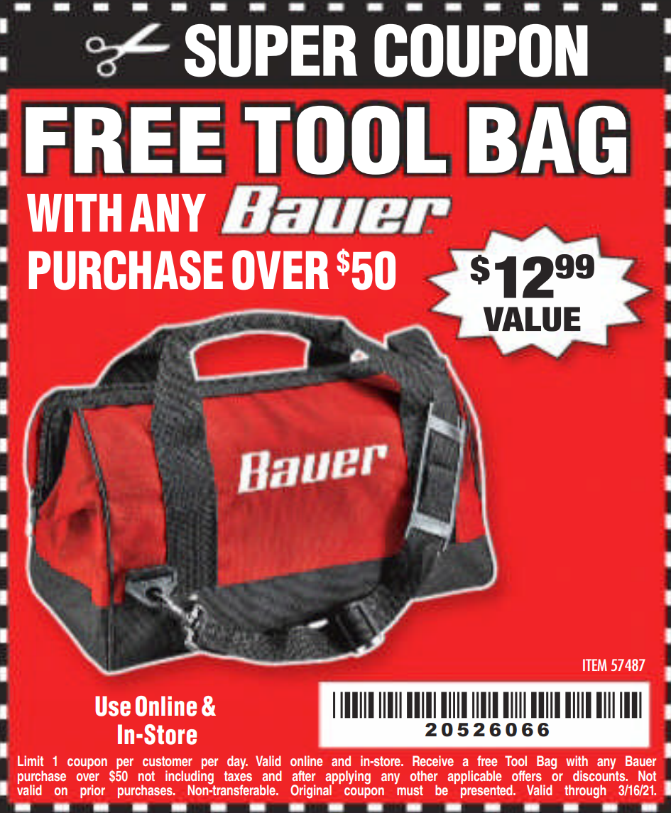 "www.hfqpdb.com - BAUER 16"" TOOL BAG WITH 6 POCKETS Lot No. 57487"