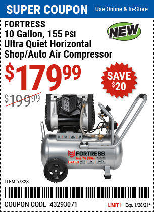 www.hfqpdb.com - FORTRESS 10 GALLON, 155 PSI ULTRA QUIET HORIZONTAL SHOP/AUTO AIR COMPRESSOR Lot No. 57328