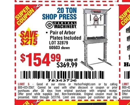 Harbor freight press coupon / Jerome arizona wine
