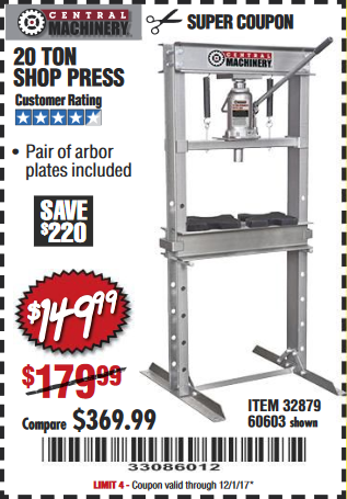 Harbor Freight 20 TON SHOP PRESS coupon