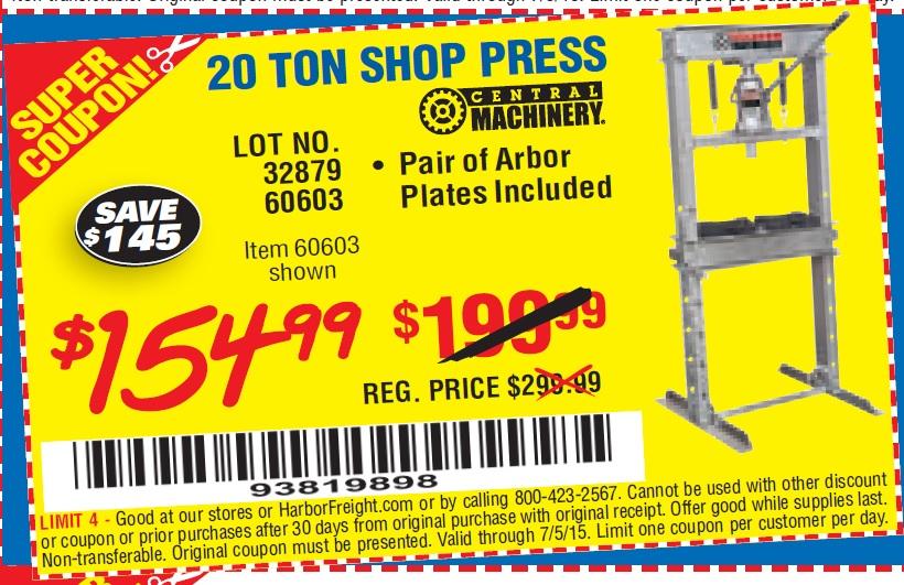 Harbor Freight 20 Ton Press Coupon Code Coupon Code In Usa